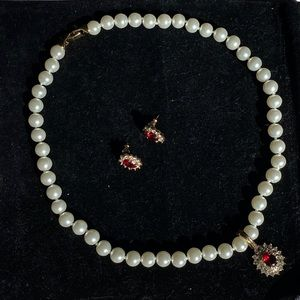 David's Bridal Ruby Pearls Necklace & Earrings Set